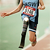 jesse_the_k: Sprinter with right AK prosthetic leg, shot from neck down (prosthetic sprint)