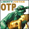 "kiki_eng: Lady Liberty kisses Lady Justice (it is a swept back and dramatic kiss) - Text: ""Libery/Justice OTP"" (Liberty/Justice: OTP)"