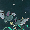 kiki_eng: two bats investigating plants against the night sky (bats in the night)