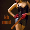 eruthros: kink bingo mod icon: woman wearing gloves and underwear holding a paddle (KB mod: impact play)
