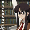 winkingstar: Yomiko (Read Or Die) with hand raised eagerly and text: Librarian. ([ROD] Librarian)