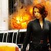 yasaman: Natasha Romanov from the Avengers movie franchise looking down while shit explodes behind her (natasha motherfucking romanov)