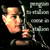 "china_shop: Fraser talking into a walkie talkie. ""Penguin to Stallion -- come in, Stallion."" (Fraser penguin to stallion)"