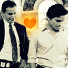 china_shop: Neal makes Peter's heart glow golden (WC - Neal/Peter yellow heart)