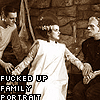 "darchildre: dr frankenstein, the monster, and the bride.  text:  ""fucked up family portrait"" (family portrait)"
