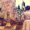 "darchildre: dorothy in the ruins of oz.  text:  ""beware the wheelers"" (beware the wheelers!)"