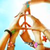 timeasmymeasure: three pairs of hands arranging their fingers to make the peace sign (stock: peace sign)