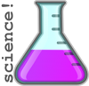 "shadowspar: a cartoony erlenmyer flask filled with a magenta substance; text: ""science!"" (science! erlenmeyer flask)"