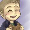 somnolentblue: chibi Dean stuffing his cheeks with cookie (spn dean cookie)