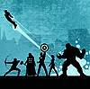 isagel: All the Avengers, a stylized drawing of their silhouettes. (avengers team)