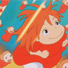 thene: Happy Ponyo looking up from the seabed (backwards)