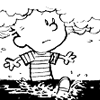 innocentsmith: calvin, grown to giant size, has his head literally in the clouds (calvin&hobbes: head in clouds)