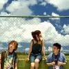 yati: Hotaka, Kiyoe and Yoshiki standing together under the blue sky, from the Natsuzora Grafiffi PV (summersky graffiti)