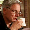 justhuman: Gibbs wearing his glasses, sipping coffee (gibbs-coffee)