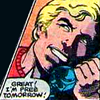 orm: Steve Rogers declaring over the telephone that HE IS FREE TOMORROW (TELEPHONE: cap)