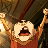 "laceblade: Meelo of Legend of Korra, fists raised, mouth open. Shouting ""JAILBREAK!"" (ATLA: Meelo jailbreak)"