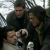 instantramen: two guys leaning over a third, passed out and bloody (another victory for Team Free Will)