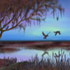 ext_2707: a tree, the blue-purple sky, and two birds reflected in water (tree water sky)