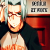 kitefullofkoi: Picture of Gokudera from Katekyo Hitman Reborn with a look of frustrated concentration. text: genius at work (khr: genius)