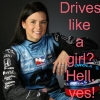 ilyena_sylph: IRL/stock car driver Danica Patrick in fire suit and with helmet, text of 'drives like a girl? hell, yes!'  (Racing: danica)