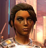 virtualvoyages: A woman with brown hair and small tattoos under her eyes faces the viewer (Captain Jezari)