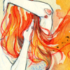 darwin: a watercolour painting of a girl with red hair flowing round her (flameheaded)