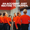 "ladyvyola: a crowd of red-shirted crewmen from classic Trek, captioned ""an accident just waiting to happen"" (well this won't end well)"