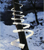 ambyr: icicles fused end to end and wrapped in a spiral around a young tree (nature sculpture by Andy Goldsworthy) (Winter)