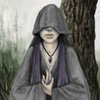 ambyr: woman wearing a hooded robe that covers her eyes and holding her hands in an akido pose (digital art by Ursula Vernon) (Undine)