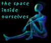 "ambyr: translucent, featureless woman sitting down, captioned, ""the space inside ourselves"" (digital art by Meilin Wong) (Glass Girl)"