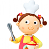 sansets: Cartoon girl with pig-tails and a cheif's hat holding a wisk and a cup of cofee (Cooking)