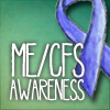 mewithme: Blue ribbon with the text: ME/CFS Awareness (Sarcasm Defence)
