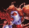lisaquestions: Female red Lantern spewing blood and looking angry. (Red Lantern Rage)