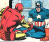 cursor_mundi: Cap and Iron Man shake hands in a totally platonic way after rolling around on the floor together (Friends!)