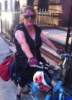 piglet: me riding my blue Biria easy boarder bicycle (cycling)
