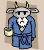 maewyn: a grumpy-looking cartoon goat in a bathrobe, holding a cup of hot coffee (atheist goat)