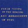 "maewyn: poorly arranged gold type on a blue cover; text: ""finer points in the spacing and arrangment of type"" (arranging type)"