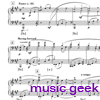 kate: music geek is musically geeky (score in the background with purple text 'music geek' in the foreground) (Text: music geek)