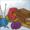 fallingbooks: piles of books and yarn (fallingbooks)