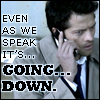 "jmtorres: Castiel speaking on his cell phone: ""Even as we speak, it's... going... down."" (castiel, going down, supernatural, disbelief)"