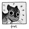 "st_aurafina: Cartoon kitty. caption: ""fret"" (Frets)"