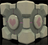 "nestra: weighted companion cube from the game ""Portal"" (weighted companion cube is love)"