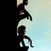 fairestcat: two silhouettes sitting against a wall, they are spider-man and spider-woman (Spider-people)