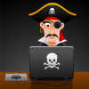 cydling: pirate on a laptop (online pirate)