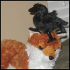 yhlee: a plush raven on a plush fox (hxx Cheris Jedao)