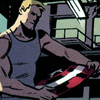 fairestcat: Steve Rogers dressed casually in a tank top, holding Captain America's shield (Steve and the shield)