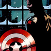 fairestcat: Captain America's shield in the foreground, Bucky Barnes and his metal arm visible behind it. (Bucky and the shield)