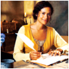 havocthecat: gwen of merlin holding a quill and writing while wearing a yellow dress (merlin gwen writing)