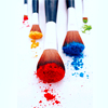 goodbyebird: Paintbrushes tipped with different colors. (STOCK primary colors oh my!)