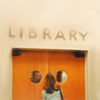 goodbyebird: Buffy Summers is about to enter the Sunnydale library. (BtVS library)
